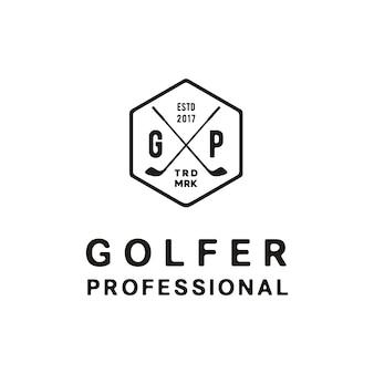 Elegancki, prosty, vintage, retro golf odznaka projekt logo