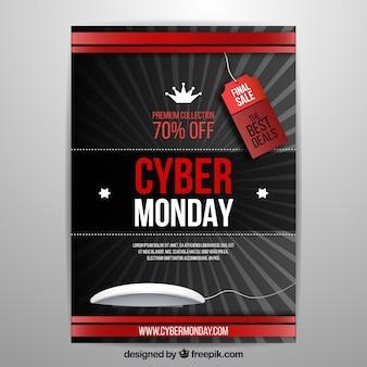 Elegancki realistyczny cyber poniedziałek plakat szablonu