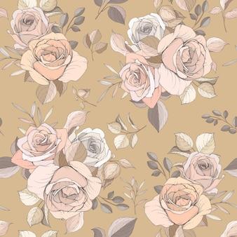 Elegancki, ręcznie rysowane kwiatowy i pozostawia bez szwu wzór