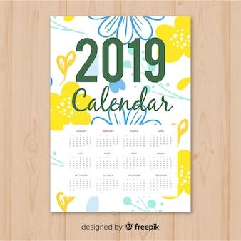 Elegancki ręcznie rysowane kwiatowy kalendarz 2019