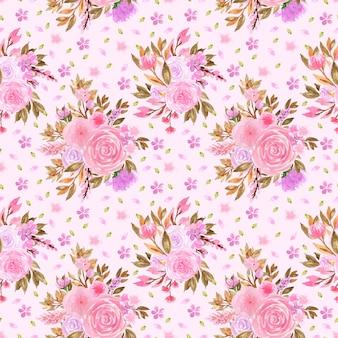 Elegancki różowy i fioletowy bez szwu kwiatowy wzór