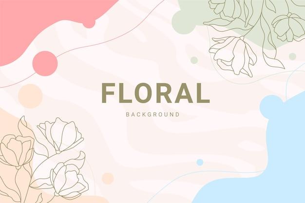 Elegancki różowy pastelowy vintage kwiatowy liść rośliny ręcznie rysowane ilustracja transparent tło