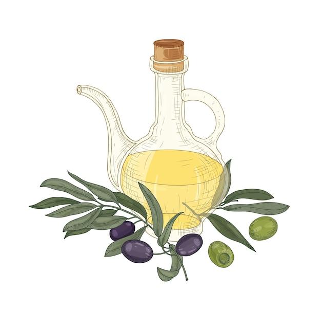 Elegancki rysunek oliwy extra vergine w szklanym dzbanku, gałązki oliwne z liśćmi, czarne i zielone owoce lub pestkowce na białym tle.