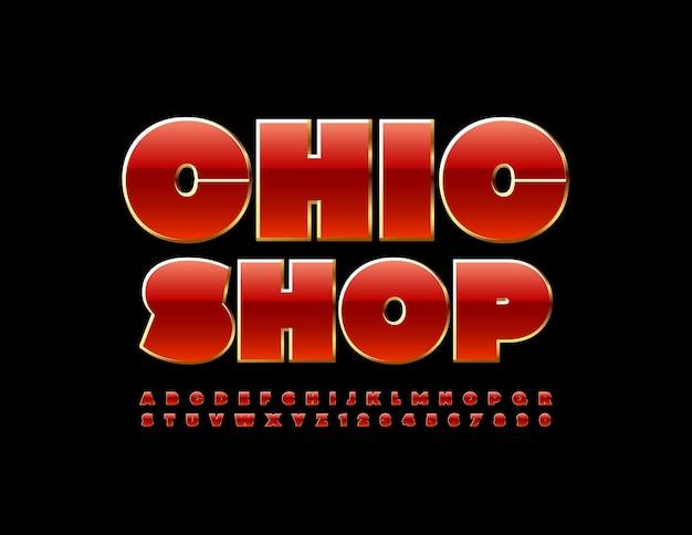 Elegancki sklep z błyszczącym, stylowym zestawem liter i cyfr alfabetu w kolorze czerwonym i złotym