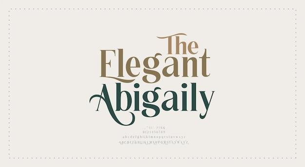Elegancki ślub czcionki litery alfabetu. typografia luksusowe klasyczne czcionki szeryfowe dekoracyjne vintage retro
