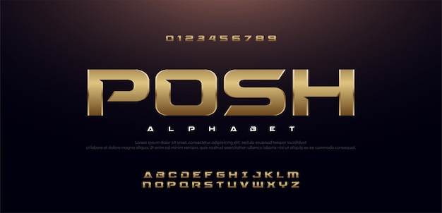 Elegancki sport złoty metal nowoczesny zestaw czcionek alfabetu.