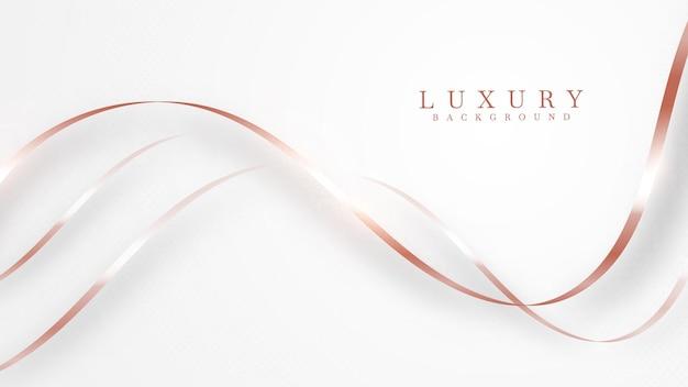 Elegancki streszczenie miedzi krzywa tło linii z błyszczącymi elementami. różane odcienie. realistyczny luksusowy styl cięcia papieru 3d nowoczesna koncepcja. ilustracji wektorowych do projektowania.