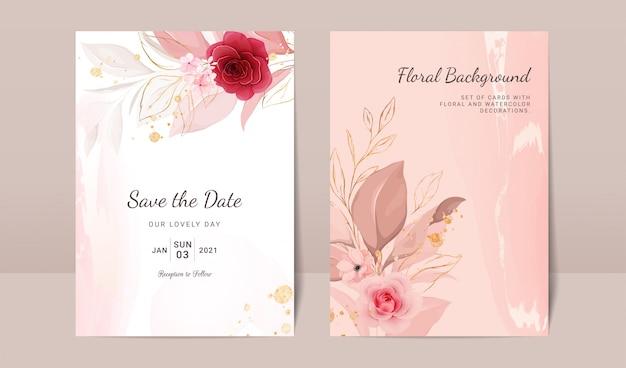 Elegancki streszczenie tło. szablon zaproszenia ślubne zestaw z dekoracją kwiatową i złotą akwarelą w celu zapisania daty, pozdrowienia, plakatu i projektu okładki