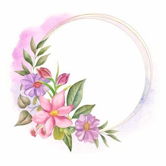 Elegancki styl akwarela kwiatowy ozdoba ramki