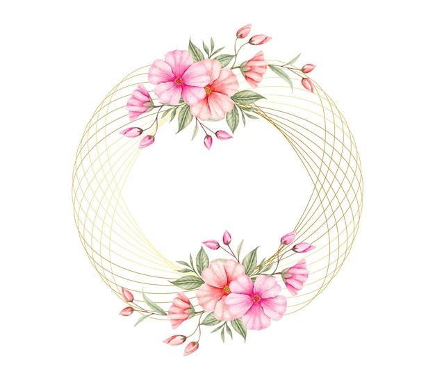 Elegancki Styl Akwarela Kwiatowy Rama Premium Wektorów