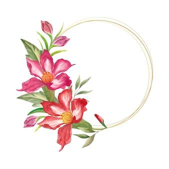 Elegancki styl akwarela kwiatowy wieniec ze złotą ramą