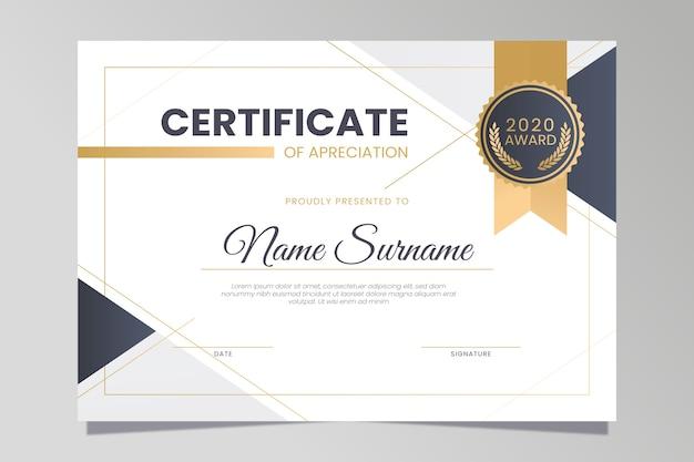 Elegancki styl dla szablonu certyfikatu