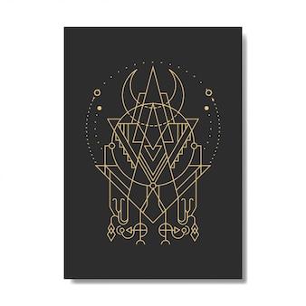 Elegancki styl geometrii trójkąta księżyca