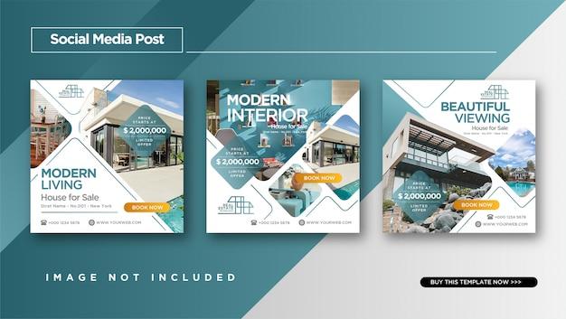 Elegancki styl nieruchomości lub projekt domu instagram post design