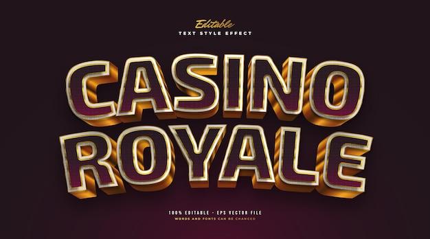 Elegancki styl tekstu casino royale w kolorze fioletowym i złotym z efektem 3d. edytowalny efekt stylu tekstu