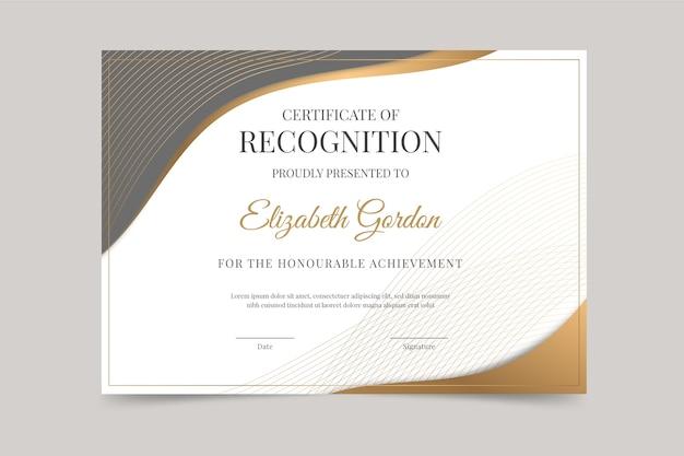 Elegancki szablon certyfikatu w stylu gradientu