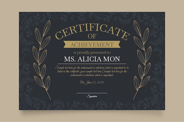 Elegancki szablon certyfikatu z liśćmi