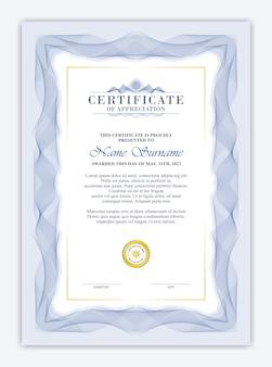Elegancki szablon certyfikatu z niebieską ramką