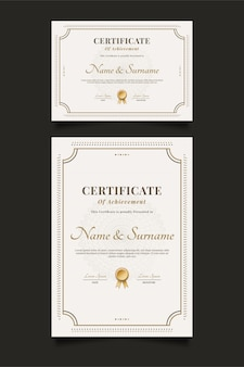 Elegancki szablon certyfikatu z ozdobną ramą i klasycznym stylem