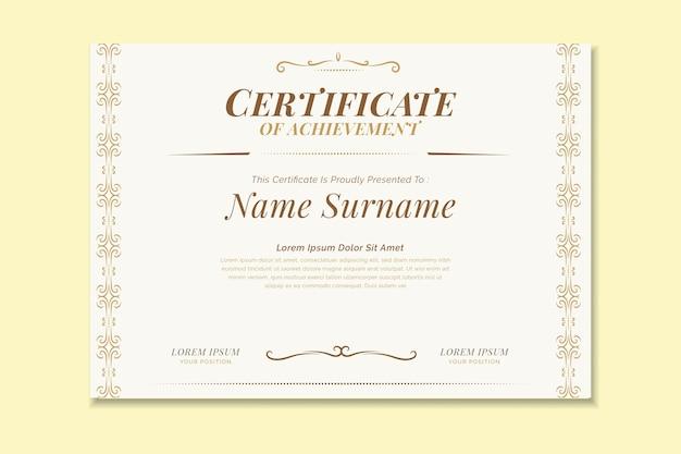 Elegancki szablon certyfikatu z różnymi ornamentami