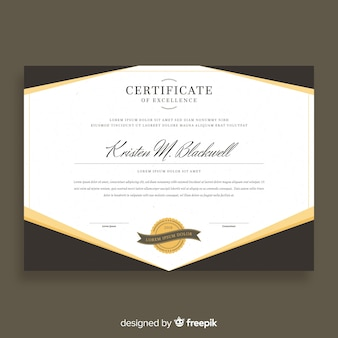 Elegancki szablon certyfikatu ze złotym stylu