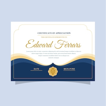 Elegancki szablon certyfikatu ze złotymi literami