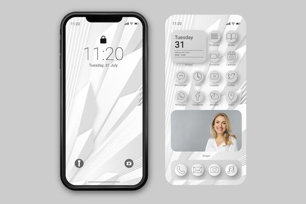 Elegancki szablon ekranu głównego dla smartfona