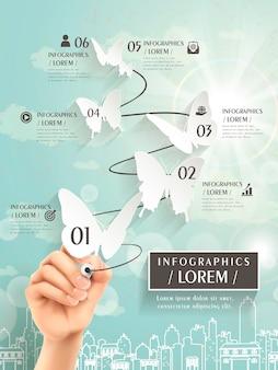 Elegancki szablon infografiki z wycięciem w papierowe motyle