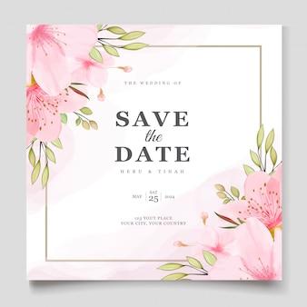 Elegancki szablon karty akwarela kwiat wiśni