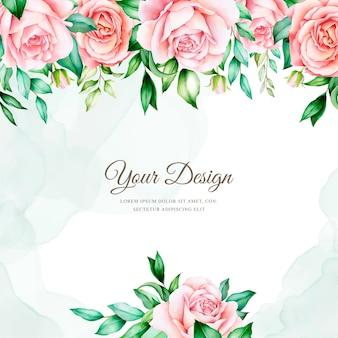 Elegancki szablon karty kwiatowy zaproszenie akwarela