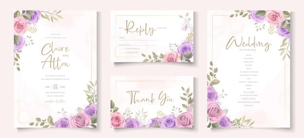 Elegancki szablon karty ślubnej z miękkim kwiatowym i liściastym ornamentem