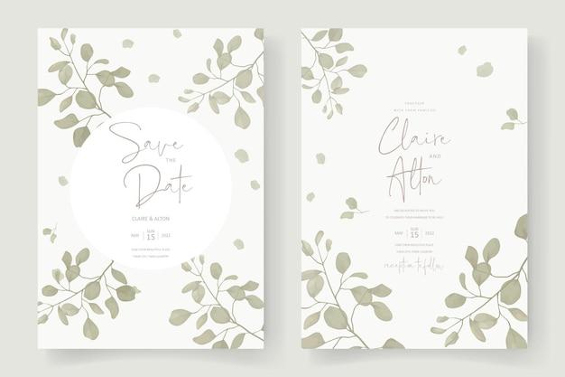 Elegancki szablon karty ślubnej z ornamentem z liści eukaliptusa