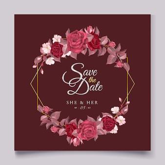 Elegancki szablon karty ślubu z bordowym kwiatów i liści