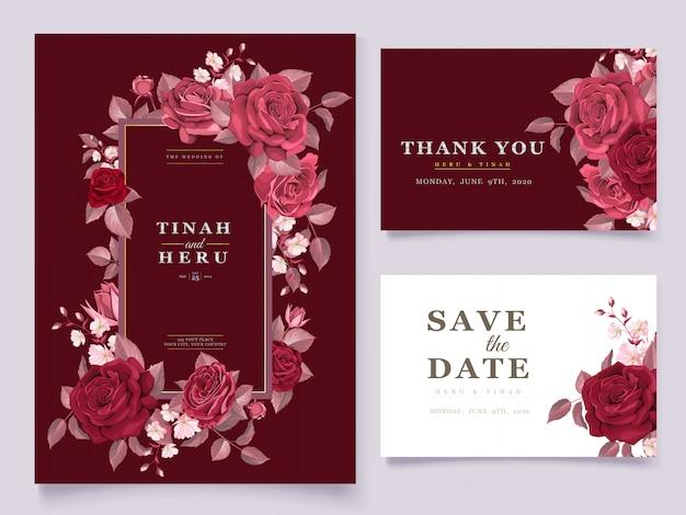 Elegancki szablon karty ślubu zestaw bordowy kwiatowy i liści