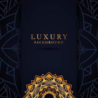 Elegancki szablon karty z ornamentem złotej mandali