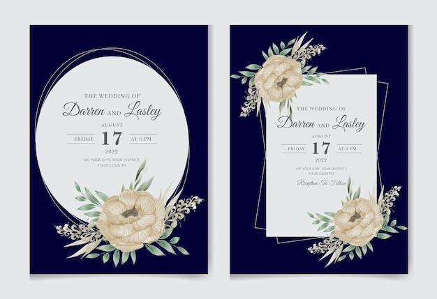 Elegancki szablon karty zaproszenia ślubne z kwiatowym akwarelą