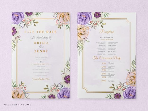 Elegancki szablon karty zaproszenie na ślub do druku