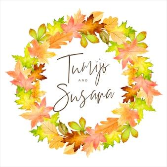 Elegancki szablon karty zaproszenie na ślub jesień