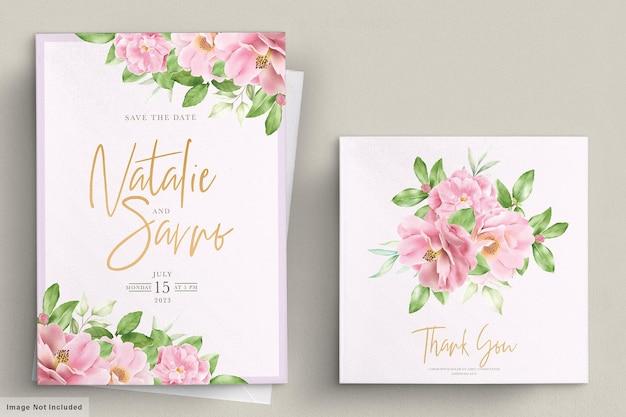Elegancki szablon karty zaproszenie na ślub kwiatowy kamelia