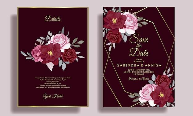 Elegancki szablon karty zaproszenie na ślub z bordowymi kwiatowymi liśćmi