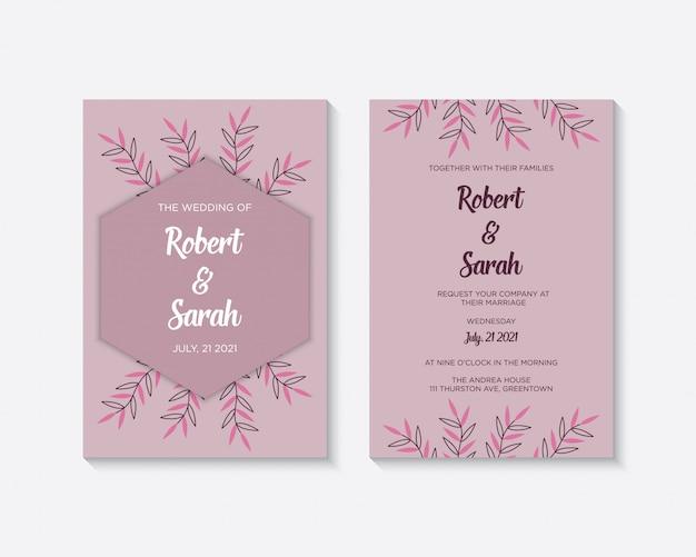 Elegancki szablon karty zaproszenie na ślub