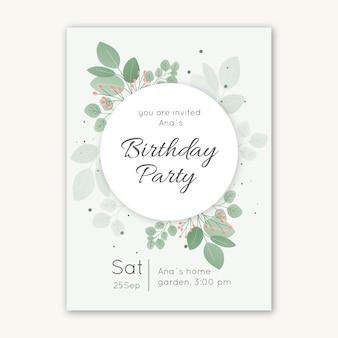 Elegancki szablon karty zaproszenie na urodziny