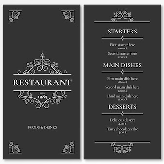 Elegancki szablon menu dla restauracji z ozdobami