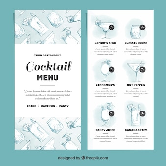 Elegancki szablon menu koktajlowe