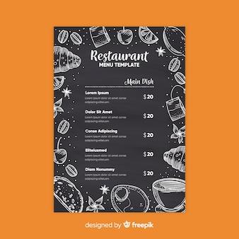Elegancki szablon menu restauracji w stylu tablicy