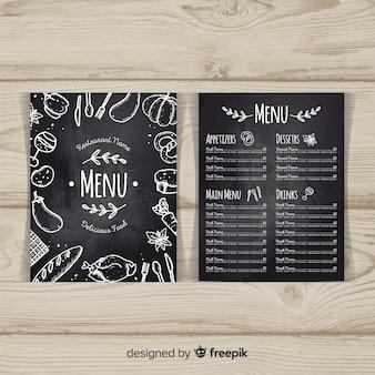 Elegancki szablon menu restauracji ze stylu tablicy