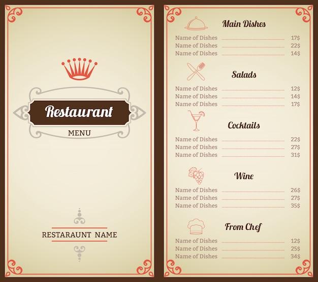 Elegancki szablon menu restauracji