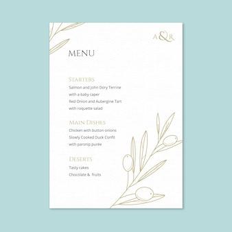Elegancki szablon menu weselnego