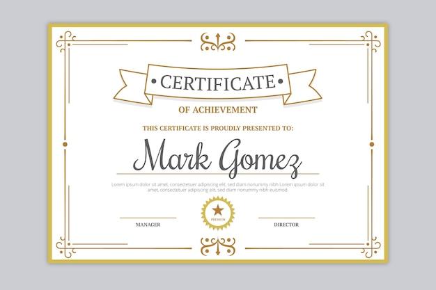 Elegancki szablon nagrody koncepcja certyfikatu