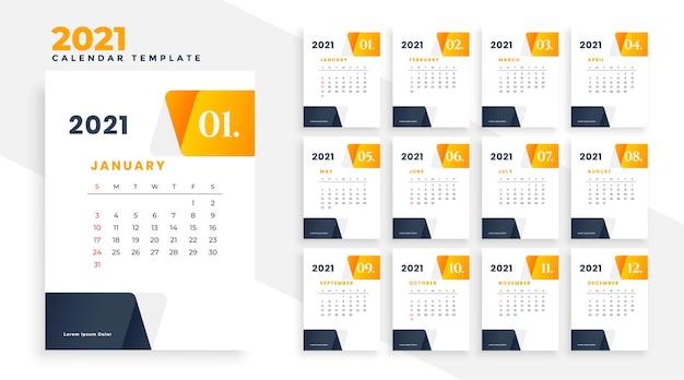 Elegancki szablon projektu kalendarza biznesowego 2021 moden